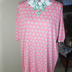 LulaRoe, coral and teal top. Longer length, size M